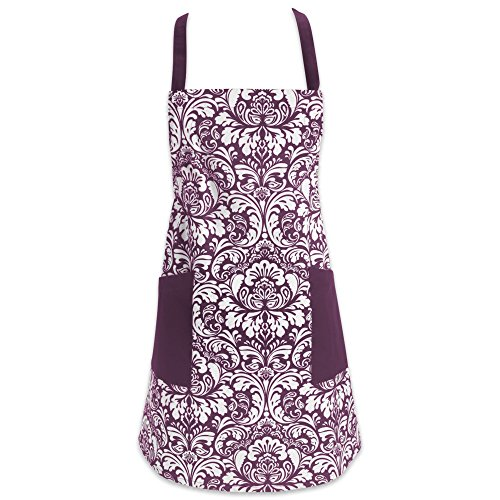 DII Cotton Adjusatble Women Kitchen Apron with Pockets and Extra Long Ties, 37.5 x 29', Cute Apron for Cooking, Baking, Gardening, Crafting, BBQ-Damask Eggplant