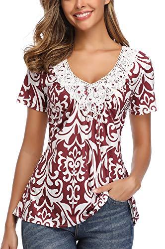 MISS MOLY Camisetas Mujer Manga Corta Blusa Verano Camisas Cuello v Elegantes impresión Blanco Large