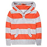 Benito & Benita Boys Sweaters Striped Hoodies with Pockets Cotton Casual Outwear Orange