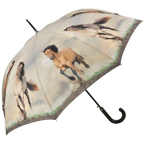 VON LILIENFELD Regenschirm Wildpferde Auf-Automatik Stabil Motiv
