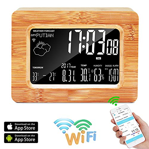 XASY Digitale houten wekker, LCD-scherm, met temperatuur/luchtvochtigheid/klok/snooze/eeuwige kalender/datum/seconden, draadloos weerstation, alarm, tafelhorloge, voorspellingsstation voor iOS en Android smartphones
