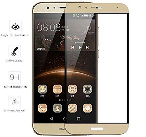 Tumundosmartphone Protector Cristal Templado Frontal Completo Dorado para Huawei G8 /GX8 Vidrio