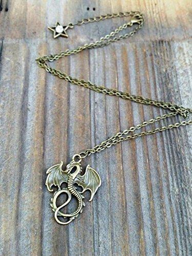 Mal's Gold Drachen-Halskette, Nachkommen inspirierte Drachen-Halskette, Maleficent Halskette, Malerei Kostüm-Schmuck, Drachen-Schmuck, Gold oder Bronze