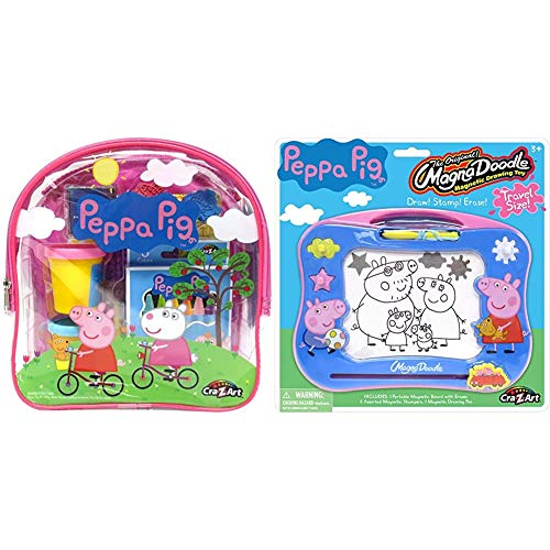 Cra-Z-Art 21018 Peppa Pig Ultimate Activities Backpack Building Kit, Assorted Color & Peppa Pig Travel Magna Doodle - Magnetic Screen Drawing Toy, Multicolor (21017)