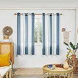 Deconovo Cortinas Salón, Visillos Translucidas Modernas Rayas, para Dormitorio Decorativo, con Ojales, 140x175cm(Ancho x Alto), Azul Oscuro, 2 Piezas