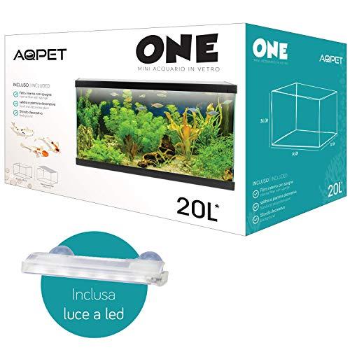 Funhobby Italia Srl AQPET One Mini Acquario in Vetro Colore Nero 20 Litri Completo di Accessori 36x22x26h Inclusa Luce a LED