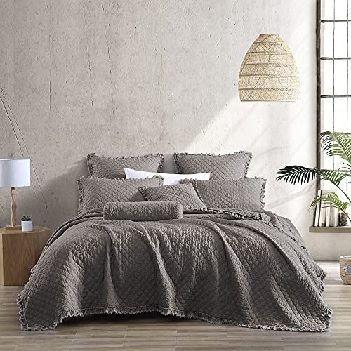 Brielle Home Ravi Stone Washed Solid Diamond Stitched Quilt Set, Twin/Twin XL, Grey