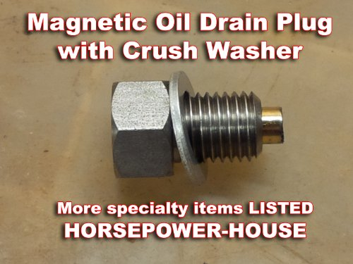 12mm US-Made Magnetic Oil Drain Plug with Washer Yamaha YZ250 YZ400F YFS200 BLASTER WR400F YZ426F WR426F YZ85 MAJESTY YP400 MORPHOUS CP250 YFM250 RAPTOR 250 XT250 YZ125 (UP TO 2004 for YZ125 only)
