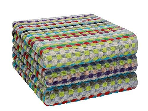 Betz 3er Pack Arbeitshandtücher Set Grubentuch Arbeitshandtuch 100% Baumwolle Größe ca. 50x90 cm gewürfelte Optik bunt