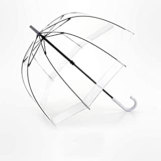 GHMOZ Household Umbrellas Transparent Bird Cage Umbrellas Vintage Long Handle Umbrellas Stainless Steel Umbrellas Available in A Variety of Colors (Color : White)