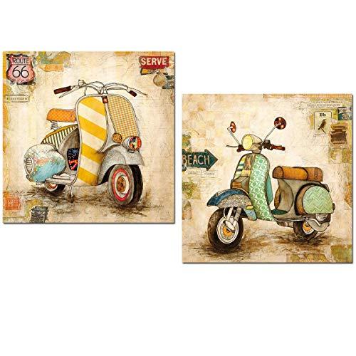 Cuadros decoracion madera Motocicletas vintage 24x24x7 para WC el baños la cocinas la habitación rincones etc. Con polimero plastico protector y cinta adhesiva doble cara AJT FORT para instalar.
