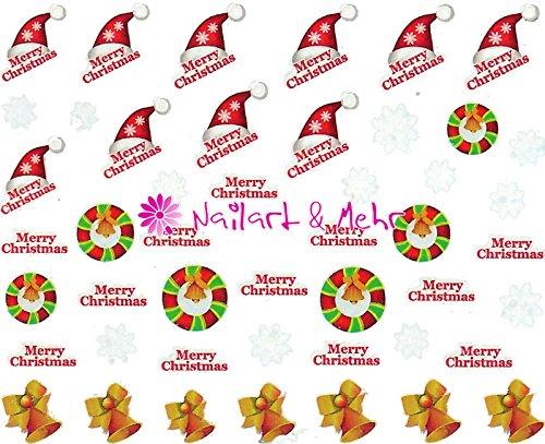 Nail adhesivo de Navidad, de Papá Noel gorro de, Albero Di Natale, copos de nieve #WL-104°° soluble en agua, aplicación sencilla °°