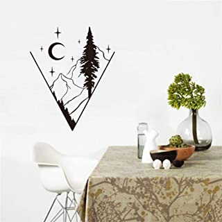 Pegatinas de Pared Mountain Night View Landscape In Four Seasons 3D Wall Sticker Tree Removable Wallpaper Home Decal Home Decor