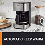 KRUPS Simply Brew Compact Filter Drip Coffee Maker, 5-Cup, Silver 11 PERFECT FOR 1 OR 2: Brews up to 5 cups of coffee/ 750 ml/ 25 fl ounces. CONVENIENT: Allows you to pour a cup of coffee while brewing and automatically keeps your coffee warm. SIMPLE AND EASY TO USE: Coffee pot with no drip spout, which controls the mess; easy On/Off button to start brewing and turn off the brewer; and a conveniently located water tank.