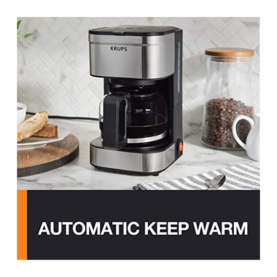 KRUPS Simply Brew Compact Filter Drip Coffee Maker, 5-Cup, Silver 5 PERFECT FOR 1 OR 2: Brews up to 5 cups of coffee/ 750 ml/ 25 fl ounces. CONVENIENT: Allows you to pour a cup of coffee while brewing and automatically keeps your coffee warm. SIMPLE AND EASY TO USE: Coffee pot with no drip spout, which controls the mess; easy On/Off button to start brewing and turn off the brewer; and a conveniently located water tank.