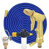 Manguera riego jardín Manguera pistola agua Flexible expandible Tubo plástico con pistola pulverización espuma metálica Riego por goteo Blue Hose set 25ft