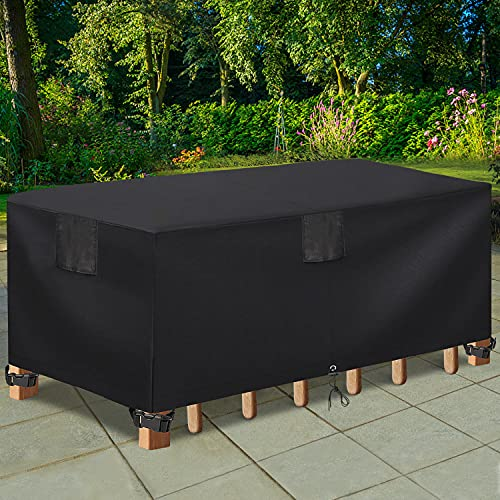 """Patio Furniture Cover Rectangular Table Outdoor Cover for Table Protection Heavy Duty Waterproof Tough Dining Table and Chair Dustproof Cover 108""""Lx82""""Wx27.5""""H for Furniture Set-Black"""