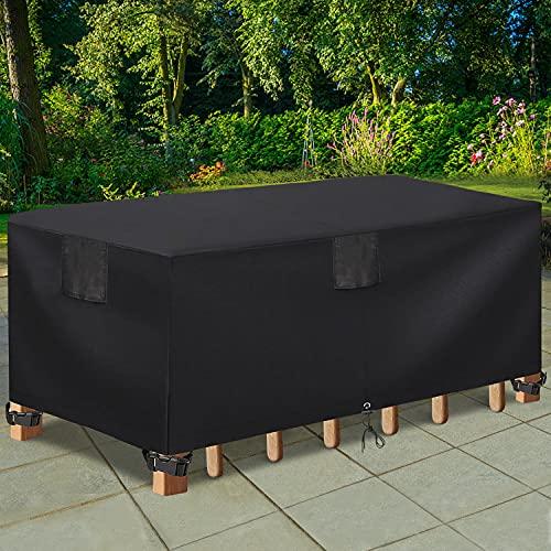 테이블 보호 테이블 보호용 사각형 테이블 옥외 덮개 테이블 보호용 무거운 듀티 방수 거친 식탁 및 의자 방진 덮개 108 LX82WX27.5 H 용 가구 세트 블랙
