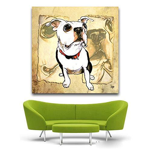 Preisvergleich Produktbild XWArtpic Druck Ölgemälde Leinwand Niedlichen Haustier Hund Papyrus Boston Terrier Pop Art Dekoration Wandkunst Bild Für Wohnzimmer Eine 60 * 60 cm