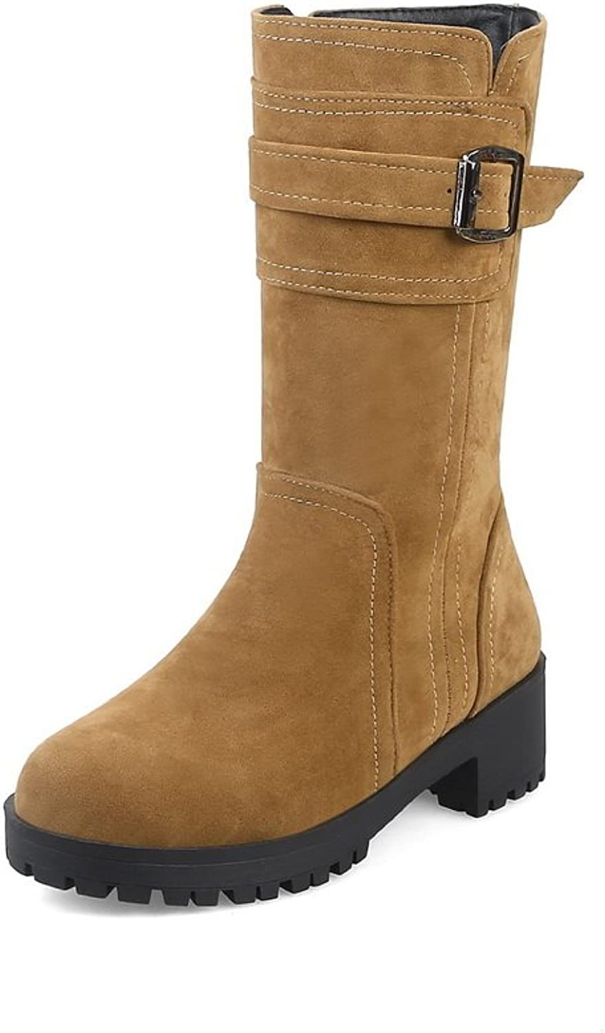 1TO9 Womens Boots Closed-Toe Zip Ankle-Wrap Low-Heel Warm Lining Waterproof Road Nubuck Urethane Dress Urethane Boots MNS02623
