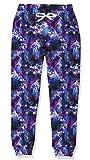 Kids Sports Sweatpants Stylish 3D Graphic Purple Galaxy Nebula Jogger Pants Elastic Waist Sweatpants Active Sportswear for Middle School Boy 8-9 yrs