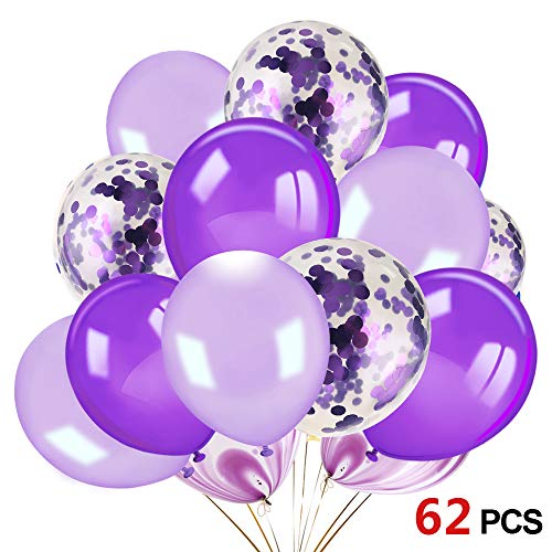 Konsait 60pcs 12 Inch Purple and White Balloons Confetti Balloons Latex Balloons for Birthday Party Decoration Girls Baby Shower Decorations Wedding Ceremony Princess Party