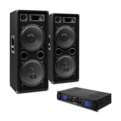 DJ SET DJ-20 - PA-Verstärker, 2x PA-Box, inkl. Kabel Set, USB-SD-Slot, 1000 Watt Verstärker, 1000 RMS Full Range Lautsprecher, schwarz