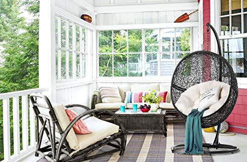 Mercury The Rebirth – Hamaca colgante para salón y balcón – Silla colgante con estructura para adultos y niños, color: negro