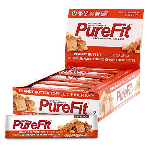 PureFit Protein Bar - All-Natural, Gluten-Free, Non-GMO, Vegan Protein Bars - Meal Replacement Bar - Peanut Butter Toffee Crunch Bar, 2oz (Pack of 15)