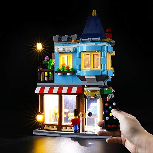 BRIKSMAX Led Beleuchtungsset für Lego Creator 3-in-1 Spielzeugladen im Stadthaus, Stadthaus Spielzeugladen - Konditorei - Blumenladen,Kompatibel Mit Lego 31105 Bausteinen Modell - Ohne Lego Set