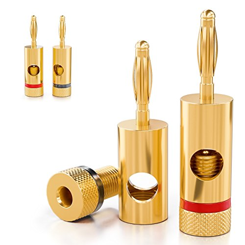 deleyCON 4X Banana Plug 24K Bañado en Oro y Atornillable para Amplificadores...