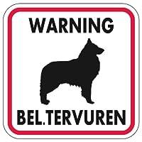 WARNING BEL. TERVUREN マグネットサイン:ベルジアンタービュレン(レッドフレーム)Mサイズ