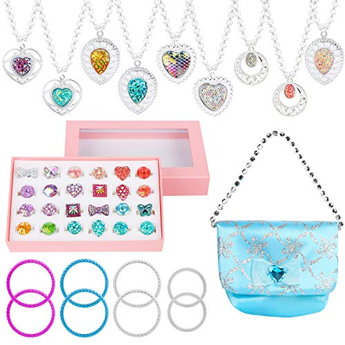 WATINC 42Pcs Princess Pretend Adjustable Jewelry Rings Cosmetic Jewellery Dress Up Play Toys ,Included Bracelets,Handbag,Rings,Necklaces for Party Favors little girls