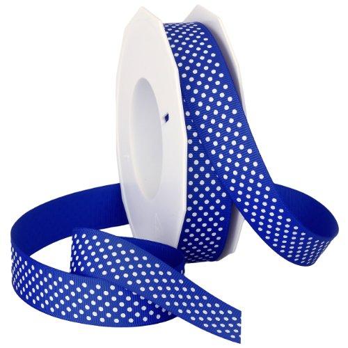 Morex Swiss Dot Polyester Grosgrain Ribbon, 7/8-Inch by 20-Yard Spool, Royal Blue
