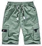 VtuAOL Women's Cargo Shorts Elastic Waist Comfy Cotton Loose Fit Shorts Pea Green Asian 5XL/US 16-18