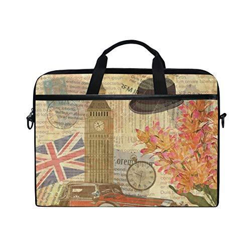 Linomo LaptoptascheLaptoptasche mit britischer Flagge und britischer Flagge fur Laptops mit 33 cm 13 Zoll 14 Zoll und 145 Zoll