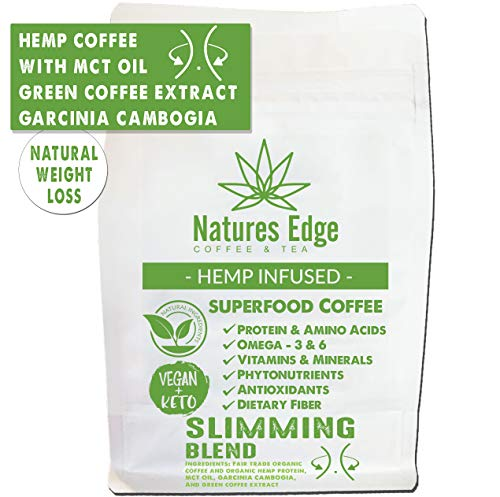 Natures Edge Slimming Blend - Medium Roast Hemp Coffee Ground with MCT Oil, Garcinia Cambogia , Green Coffee Extract, Antioxidants, Minerals, Fiber and Heart-Healthy Unsaturated Fats - 12oz