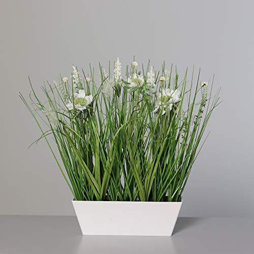 Wiesenblumengras 40x38x18cm weiß in Dekoschale DP Kunstblumen Frühlingsblumen Kunstgras