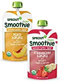 Sprout Organic Baby Food, Stage 4 Toddler Smoothie Pouches, Strawberry Banana & Peach Banana with Yogurt Variety Pack, 4 Oz Purees (Pack of 12)
