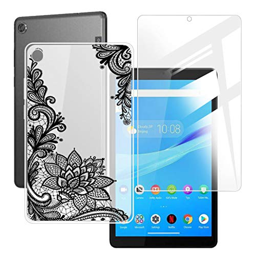 HHUAN Tablet Case + Screen Protector for Lenovo Tab M8 TB-8505F / TB-8505X 8 inches,Semi-Transparent Flexible Silicone Gel TPU Protective Shell Bumper Case Cover - Black Rose