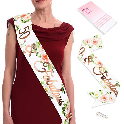 Qpout Rose Gold 50 Fabulous Happy Birthday Geburtstag Schärpe Mit Diamant Sicherheitsnadeln Für Geburtstag Frauen Frau Mädchen Deko Frauen Deko Accessoires Geschenk