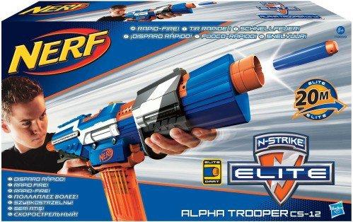 Hasbro Strike Alpha Trooper Rifle de Asalto de Juguete - Armas de Juguete (Rifle de Asalto de Juguete, 8 año(s), Niño, Negro, Azul, Naranja, Color Blanco, Nerf, 20 m)