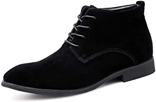 Ranipobo Ankle Boots for Men Casual Shoes Lace Up Style Suede Leather Classical Business for Men (Color : Black, Size : 6.5 UK)