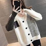 ZXCHB Suéter de la cardigan de las mujeres de otoño, chaqueta de punto femenino femenino de la chaqueta de otoño de la primavera femenina (Color : Rice white, Size : XL code)