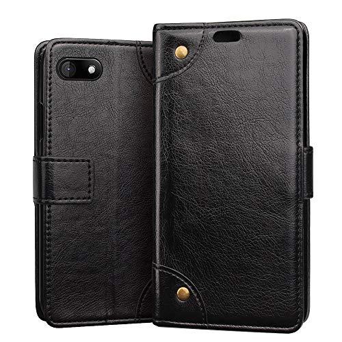 RIFFUE Hülle für Wiko Sunny 3, Wiko Sunny3 Handyhülle Premium Weiche Tasche Künstliche Leder Wallet Flip Hülle Klapphülle Brieftasche für Wiko Sunny 3 (5 Zoll) - Schwarz