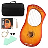 Mr.Power Lyre Harp Ancient Greece Style 7 Metal Strings Lyre with Tuning Wrench Extra String Set and Gig Bag (7 String, Sunburst)