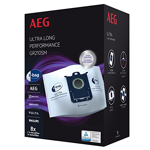 AEG GR210SM s-bag Ultra Long Performance Staubsaugerbeutel MegaPack (8 XXL Synthetik Staubbeutel, 1 Motorfilter, 1 Mikrofilter, optimale Filtration & Saugleistung, Hygieneverschluss, 5 Liter, weiß)