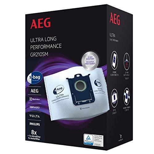 AEG GR210SM s-bag Ultra Long Performance Staubsaugerbeutel MegaPack (8 XXL Synthetik Staubbeutel, 1 Motorfilter, 1 Mikrofilter, optimale Filtration & Saugleistung, Hygieneverschluss, 5 Liter, weiß)
