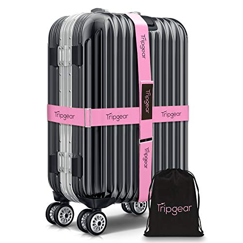 Tripgear Premium Luggage Strap - Luggage Belt with extra strong Fastener (Pink - 2pcs + velvet bag)