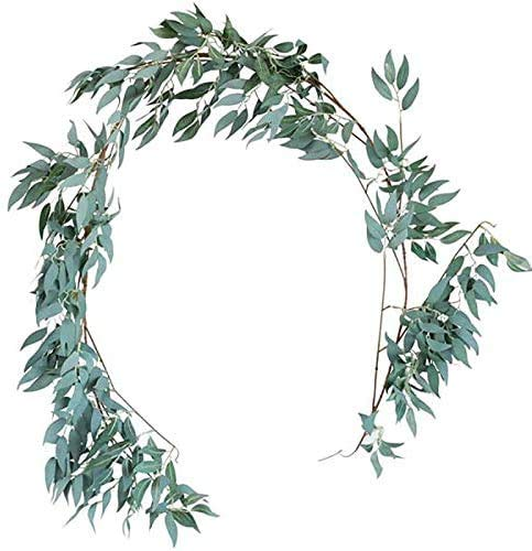 JIAJBG 4Pcs 5.6-Foot Willow Vine Branches Leaf Garland String Door Green Garland Indoor and Outdoor Set for Wedding Home Decor for Home and Office Decoration